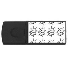 White bug pattern USB Flash Drive Rectangular (4 GB)  by Valentinaart