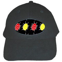 Red And Yellow Bugs Pattern Black Cap by Valentinaart