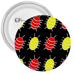 Red And Yellow Bugs Pattern 3  Buttons by Valentinaart