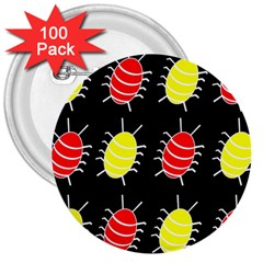 Red And Yellow Bugs Pattern 3  Buttons (100 Pack)  by Valentinaart