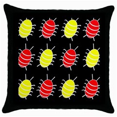 Red And Yellow Bugs Pattern Throw Pillow Case (black) by Valentinaart