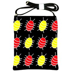 Red and yellow bugs pattern Shoulder Sling Bags