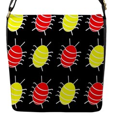 Red And Yellow Bugs Pattern Flap Messenger Bag (s) by Valentinaart