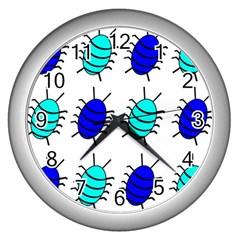 Blue Bugs Wall Clocks (silver)  by Valentinaart