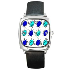 Blue Bugs Square Metal Watch by Valentinaart