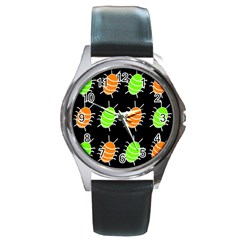 Green And Orange Bug Pattern Round Metal Watch by Valentinaart