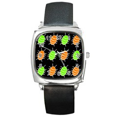 Green And Orange Bug Pattern Square Metal Watch by Valentinaart