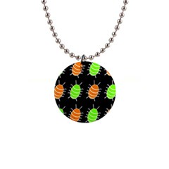 Green And Orange Bug Pattern Button Necklaces by Valentinaart