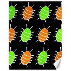 Green And Orange Bug Pattern Canvas 12  X 16   by Valentinaart