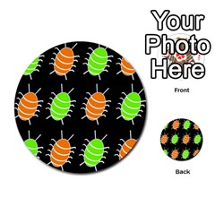 Green And Orange Bug Pattern Multi Purpose Cards (round)  by Valentinaart
