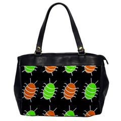 Green And Orange Bug Pattern Office Handbags by Valentinaart
