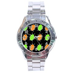 Green And Orange Bug Pattern Stainless Steel Analogue Watch by Valentinaart