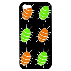 Green And Orange Bug Pattern Apple Iphone 5 Hardshell Case by Valentinaart