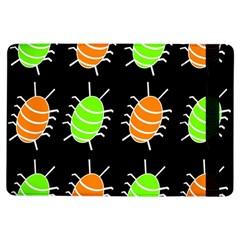 Green And Orange Bug Pattern Ipad Air Flip by Valentinaart