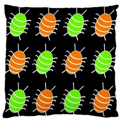 Green And Orange Bug Pattern Standard Flano Cushion Case (one Side) by Valentinaart