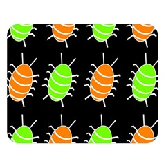 Green And Orange Bug Pattern Double Sided Flano Blanket (large)  by Valentinaart