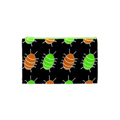 Green And Orange Bug Pattern Cosmetic Bag (xs) by Valentinaart