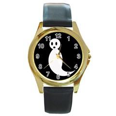 Ghost Round Gold Metal Watch by Valentinaart