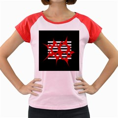 Red, Black And White Abstract Design Women s Cap Sleeve T Shirt by Valentinaart