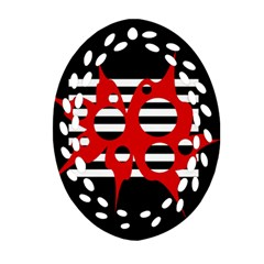 Red, Black And White Abstract Design Oval Filigree Ornament (2 Side)  by Valentinaart