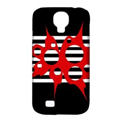 Red, Black And White Abstract Design Samsung Galaxy S4 Classic Hardshell Case (pc+silicone) by Valentinaart