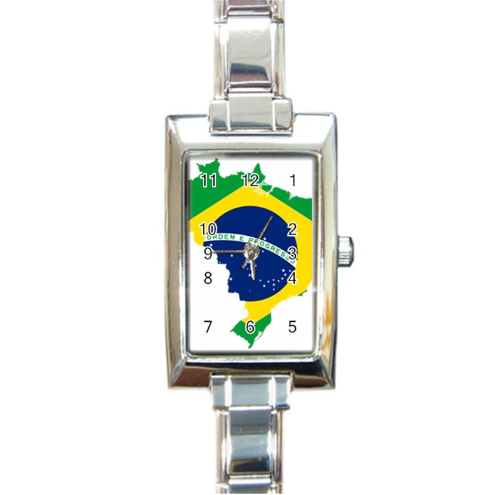 Flag Map Of Brazil  Rectangle Italian Charm Watch