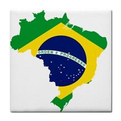 Flag Map Of Brazil  Tile Coasters