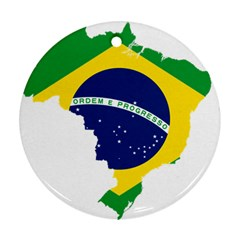 Flag Map Of Brazil  Ornament (round)