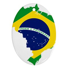 Flag Map Of Brazil  Ornament (oval)