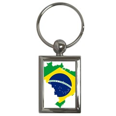 Flag Map Of Brazil  Key Chains (rectangle)