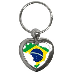 Flag Map Of Brazil  Key Chains (heart)