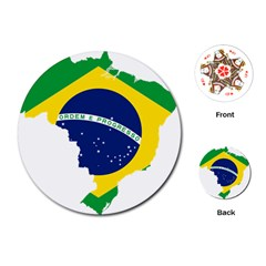Flag Map Of Brazil  Playing Cards (round)
