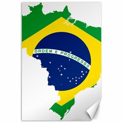 Flag Map Of Brazil  Canvas 24  X 36