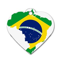 Flag Map Of Brazil  Dog Tag Heart (two Sides)