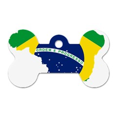 Flag Map Of Brazil  Dog Tag Bone (two Sides)
