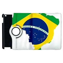 Flag Map Of Brazil  Apple Ipad 2 Flip 360 Case by abbeyz71