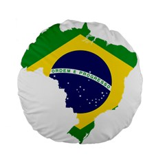 Flag Map Of Brazil  Standard 15  Premium Round Cushions
