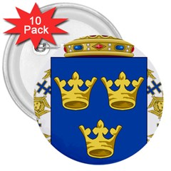 Lesser Coat Of Arms Of Sweden 3  Buttons (10 pack)  by abbeyz71