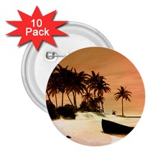 Wonderful Sunset Over The Beach, Tropcal Island 2 25  Buttons (10 Pack)  by FantasyWorld7