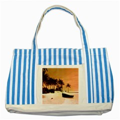 Wonderful Sunset Over The Beach, Tropcal Island Striped Blue Tote Bag by FantasyWorld7