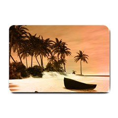 Wonderful Sunset Over The Beach, Tropcal Island Small Doormat  by FantasyWorld7