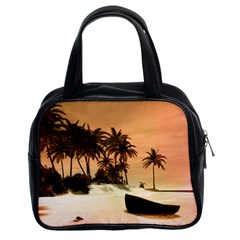 Wonderful Sunset Over The Beach, Tropcal Island Classic Handbags (2 Sides) by FantasyWorld7