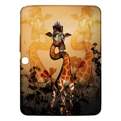 Funny, Cute Giraffe With Sunglasses And Flowers Samsung Galaxy Tab 3 (10 1 ) P5200 Hardshell Case  by FantasyWorld7