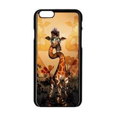 Funny, Cute Giraffe With Sunglasses And Flowers Apple Iphone 6/6s Black Enamel Case by FantasyWorld7
