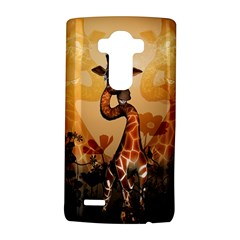 Funny, Cute Giraffe With Sunglasses And Flowers Lg G4 Hardshell Case by FantasyWorld7