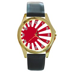 Ensign Of The Imperial Japanese Navy And The Japan Maritime Self Defense Force Round Gold Metal Watch