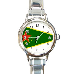Flag Of The Women s Protection Units Round Italian Charm Watch by abbeyz71