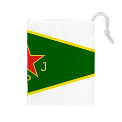 Flag Of The Women s Protection Units Drawstring Pouches (large)  by abbeyz71