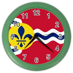 Flag Of St Color Wall Clocks by abbeyz71