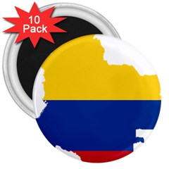 Flag Map Of Colombia 3  Magnets (10 Pack)